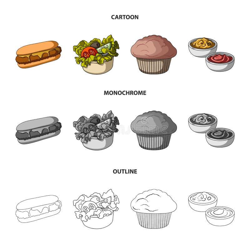 Nourriture, repos, rafraîchissements, et toute autre icône de Web dans la bande dessinée, contour, style monochrome Gâteau, biscu illustration stock