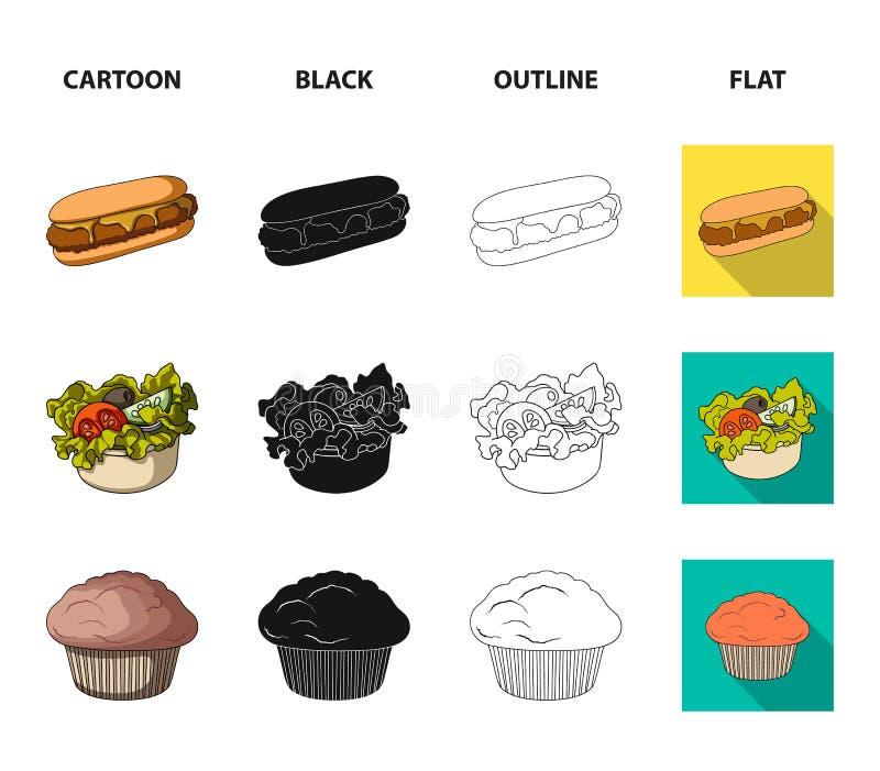 Nourriture, repos, rafraîchissements, et toute autre icône de Web dans la bande dessinée, noir, contour, style plat Gâteau, biscu illustration libre de droits