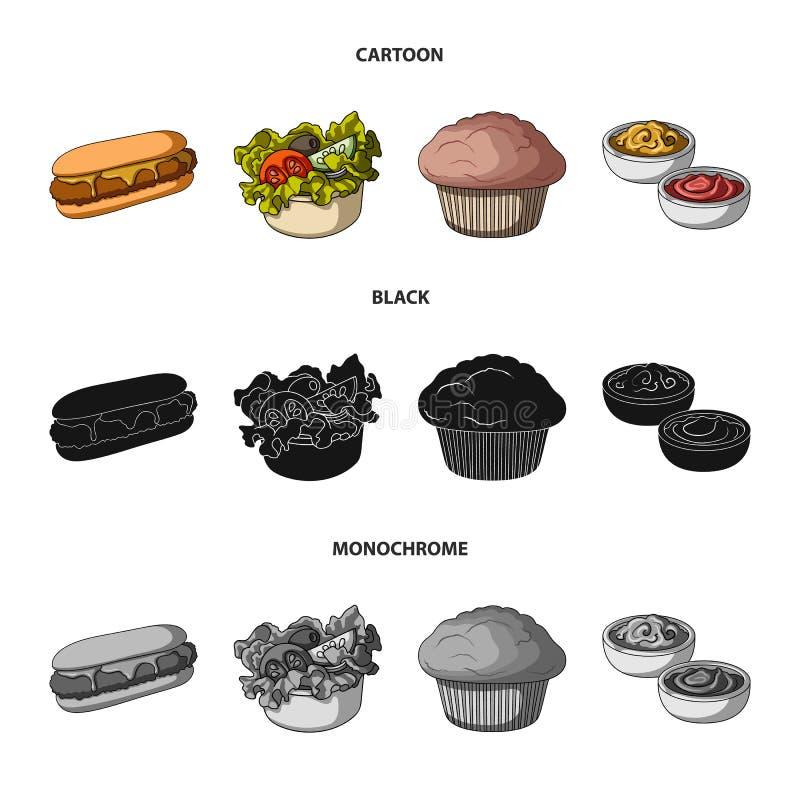 Nourriture, repos, rafraîchissements, et toute autre icône de Web dans la bande dessinée, noir, style monochrome Gâteau, biscuit, illustration de vecteur