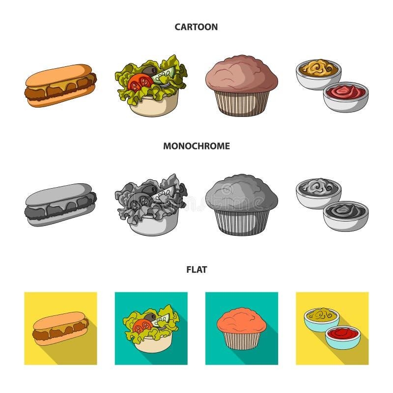 Nourriture, repos, rafraîchissements, et toute autre icône de Web dans la bande dessinée, style plat et monochrome Gâteau, biscui illustration stock