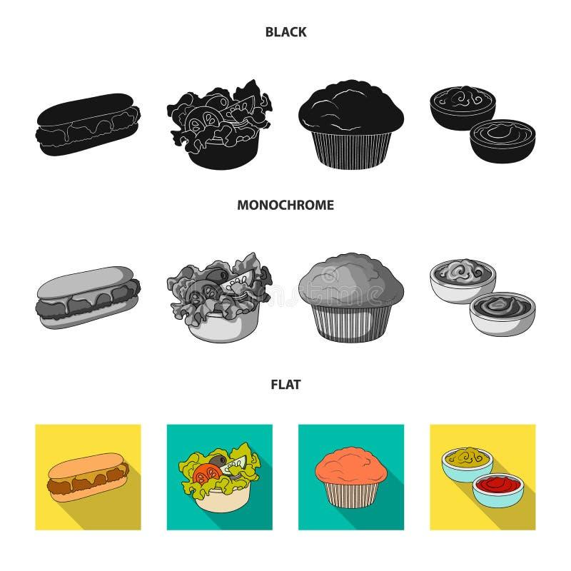 Nourriture, repos, rafraîchissements, et toute autre icône de Web dans le style noir, plat, monochrome Gâteau, biscuit, crème, ic illustration de vecteur