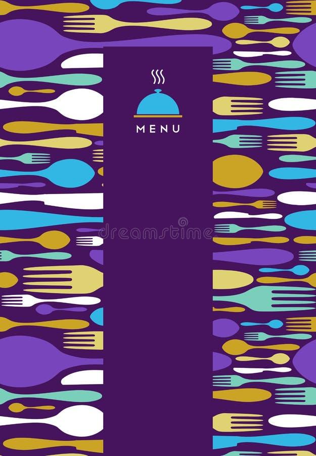 Nourriture, restaurant, conception de carte dans la violette illustration stock