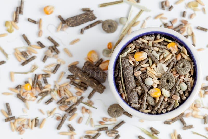 Nourriture sèche pour des rongeurs dans la vue supérieure de fond blanc de cuvette photo stock