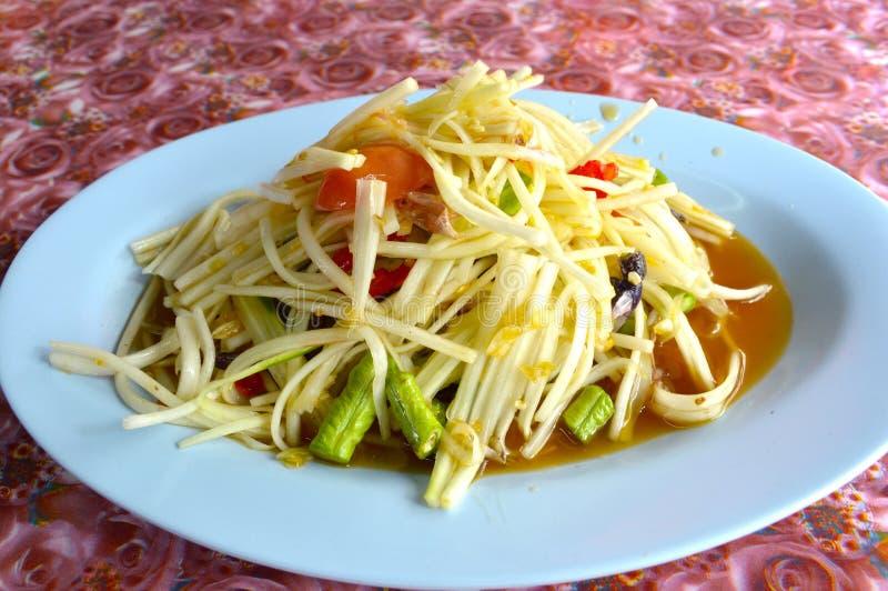 Nourriture saine de la Thaïlande de salade épicée de papaye photos libres de droits