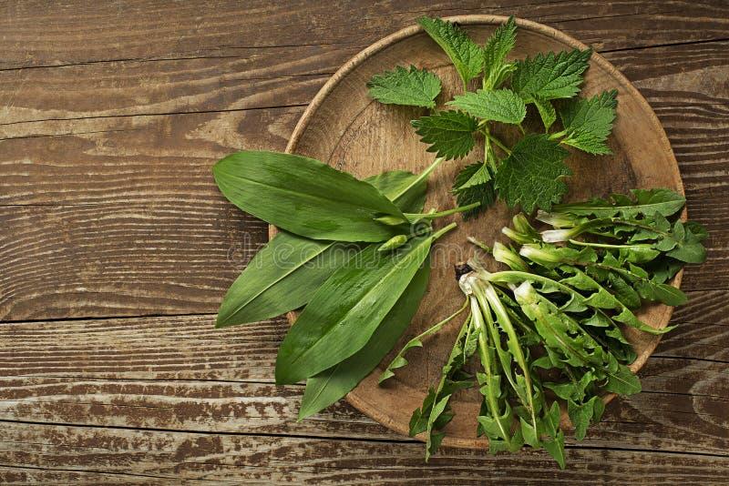 Nourriture saine de ressort avec des feuilles de pissenlit et d'ortie d'ail sauvage images stock
