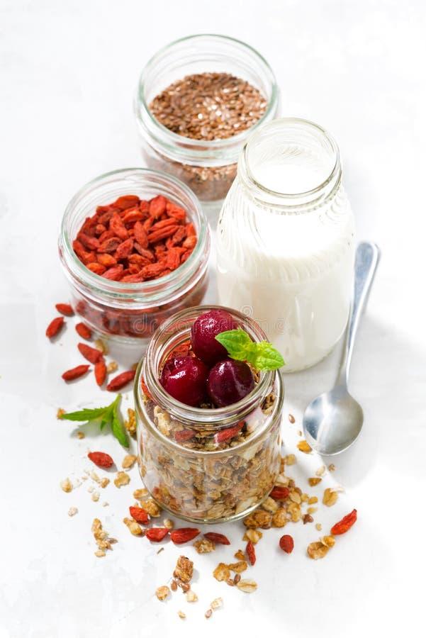 nourriture saine, granola avec des baies de goji et cerises photographie stock libre de droits