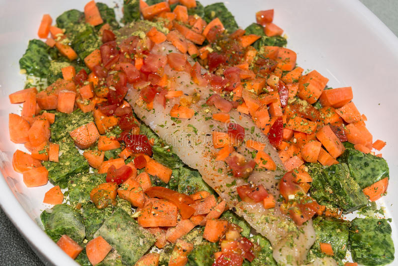 Nourriture saine, poisson de compilation avec des légumes photos stock