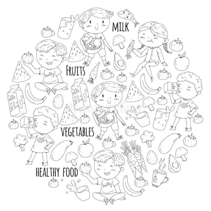 Nourriture saine pour des enfants Le jardin d'enfants, école badine manger la pastèque, aubergine, poisson, tomate, avocat, lait, illustration libre de droits