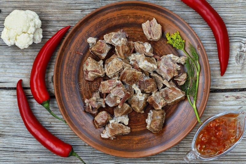Nourriture saine Viande bouillie avec des légumes images libres de droits