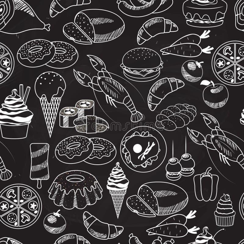 Nourriture sans couture de vecteur sur le fond de tableau illustration stock