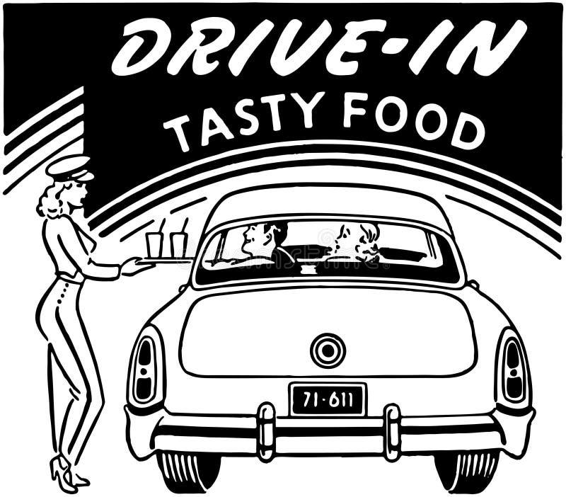 Nourriture savoureuse drive-in illustration de vecteur
