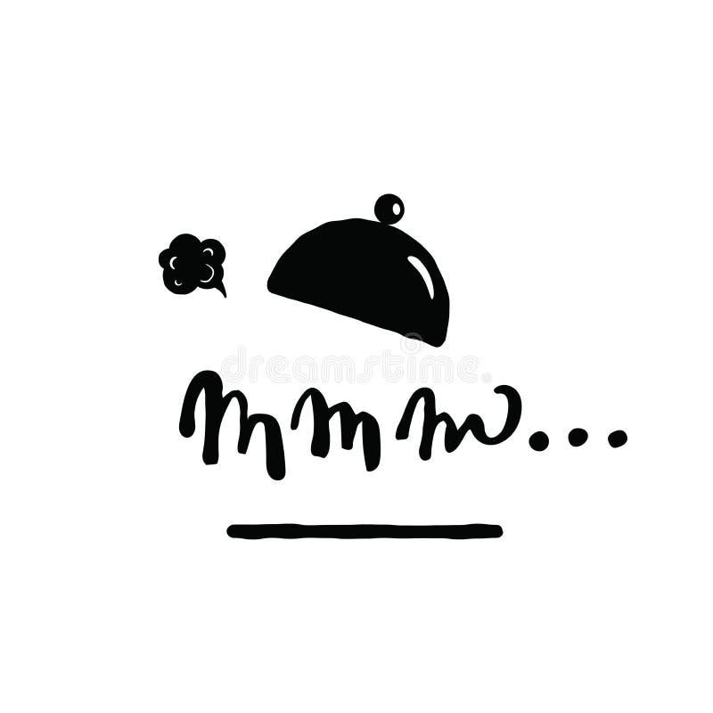 Nourriture savoureuse Inscription mmm de lettrage de main Illustrasion de plat, de chapeau et de vapeur de portion illustration libre de droits