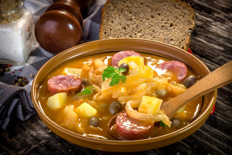 Nourriture slovène traditionnelle de Jota- image libre de droits