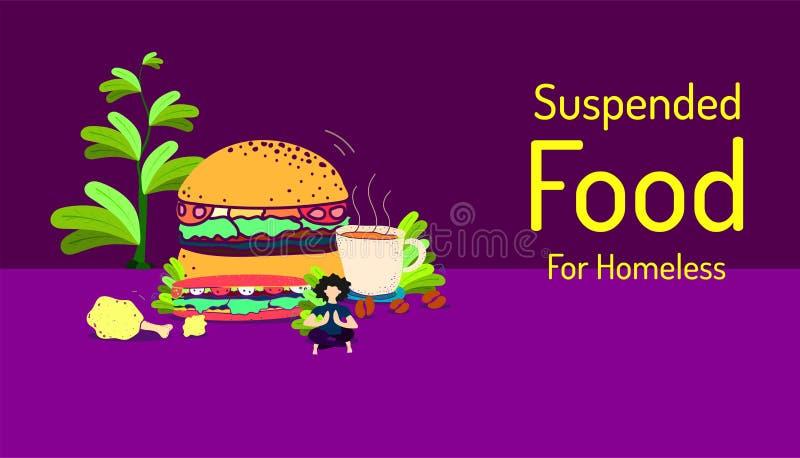 Nourriture suspendue pour le sans-abri article de poulet mis le feu par café d'hamburger d'aliments de préparation rapide que vou illustration stock