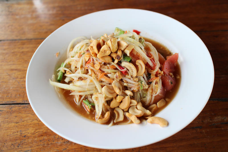 Nourriture thaïe de salade de papaye image stock