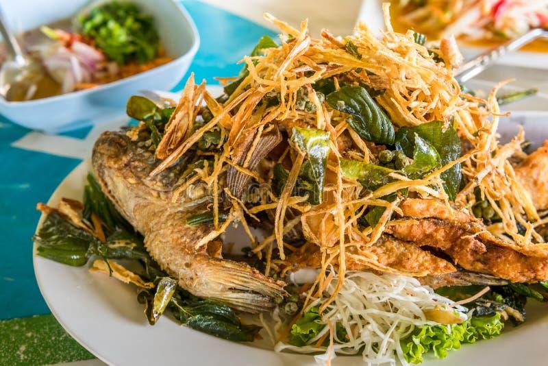 Nourriture thaïe frite de poissons images libres de droits