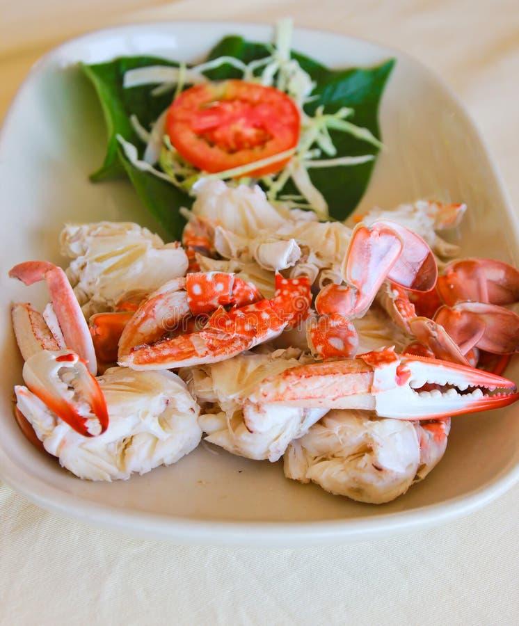 Nourriture thaïlandaise cuite à la vapeur de crabe image libre de droits