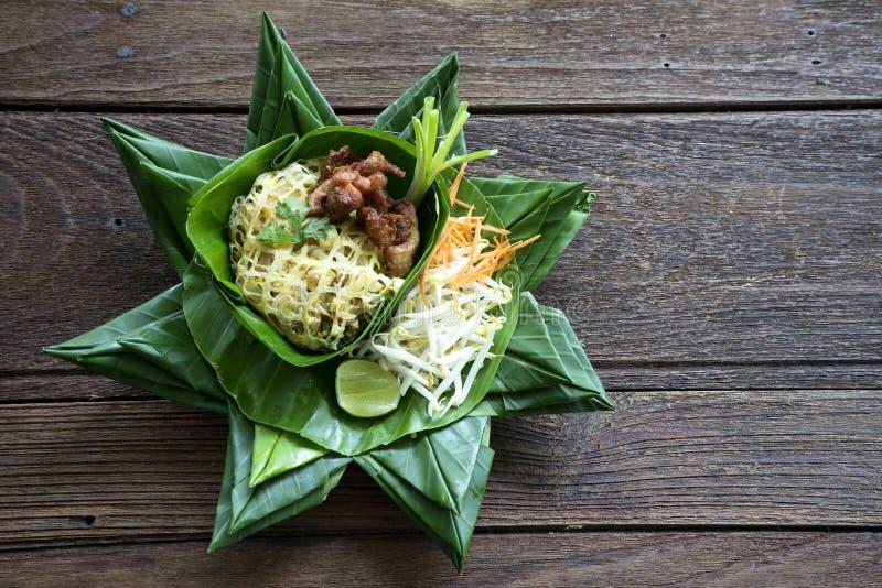 Nourriture thaïlandaise de la Thaïlande de protection sur la feuille de banane photos libres de droits