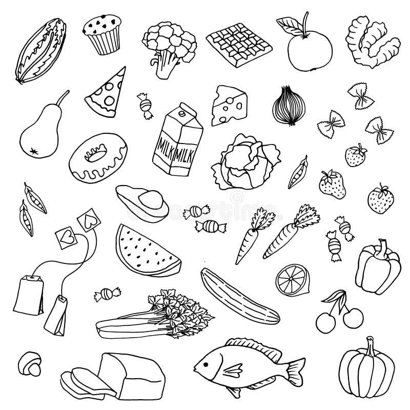 Nourriture tirée par la main illustration stock