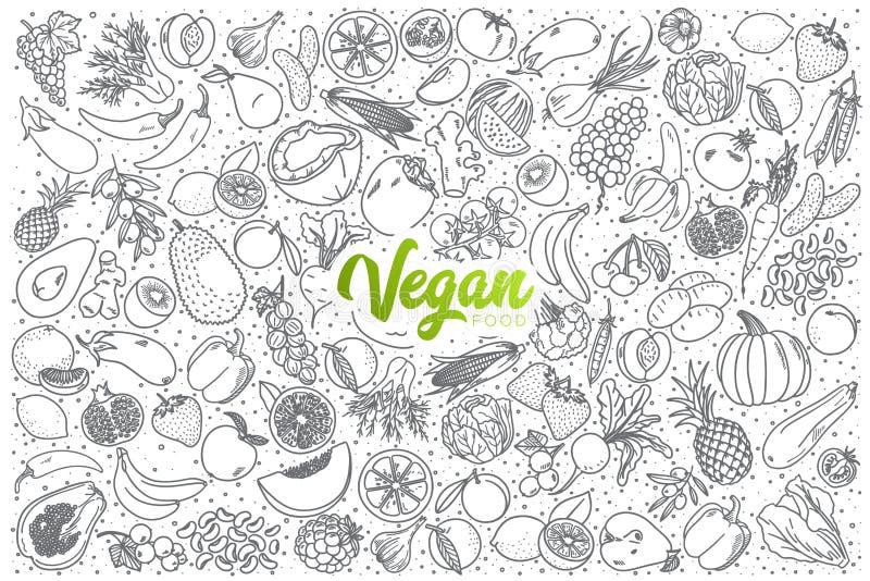 Nourriture tirée par la main de vegan réglée avec le lettrage vert illustration stock