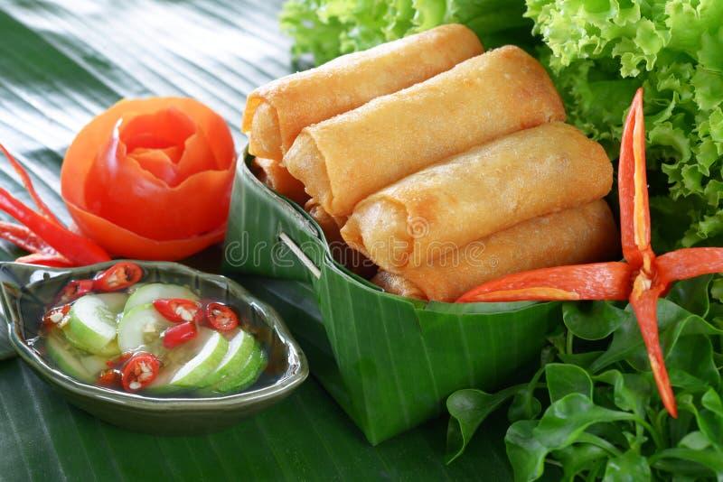 Nourriture traditionnelle chinoise croustillante de roulis de source photo libre de droits