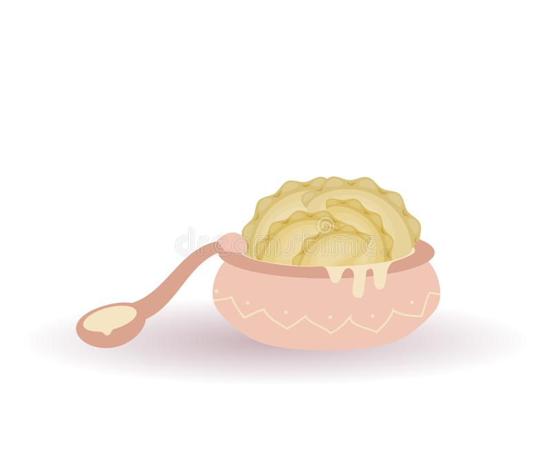 Nourriture traditionnelle ukrainienne délicieuse - varenyks ou boulettes dans le plat rose avec la crème sure et une cuillère Ill illustration de vecteur