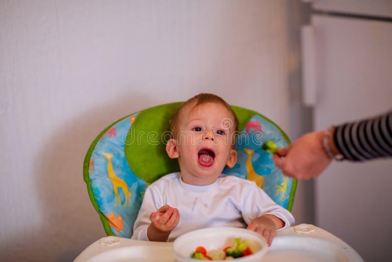 nourriture végétale pour le nourrisson Les enfants mangent des légumes Garçon de sourire photographie stock