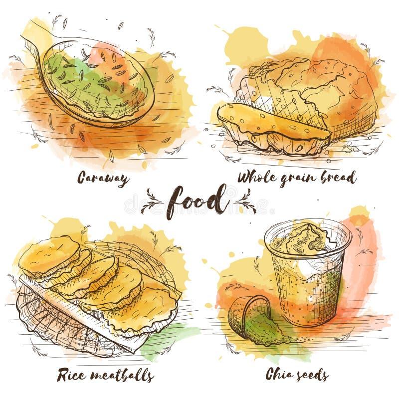 Nourriture végétarienne dans le style de croquis d'aquarelle sur le fond blanc Vecteur illustration stock