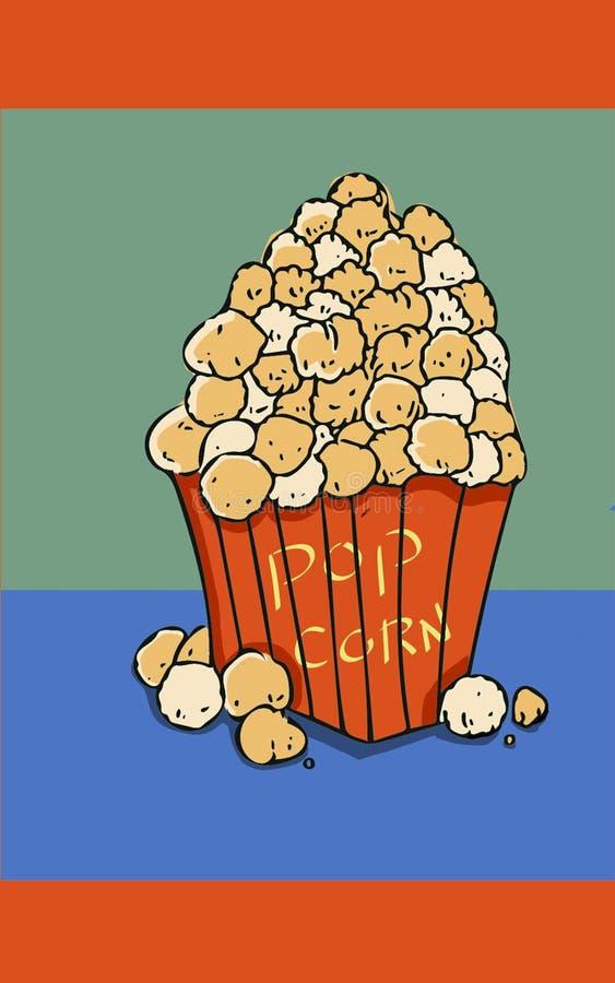 Nourritures de doigt de casse-croûte heure de projection du film d'illustration de maïs éclaté photo libre de droits