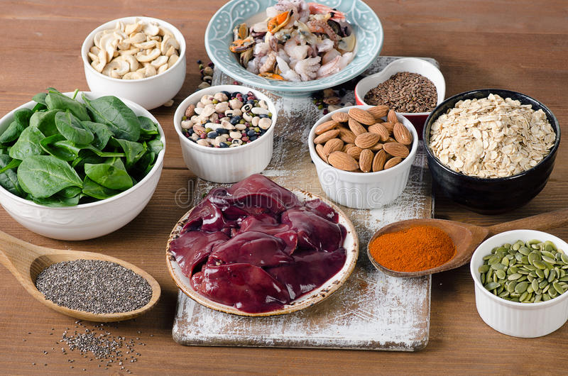 Nourritures hautes en manganèse image stock