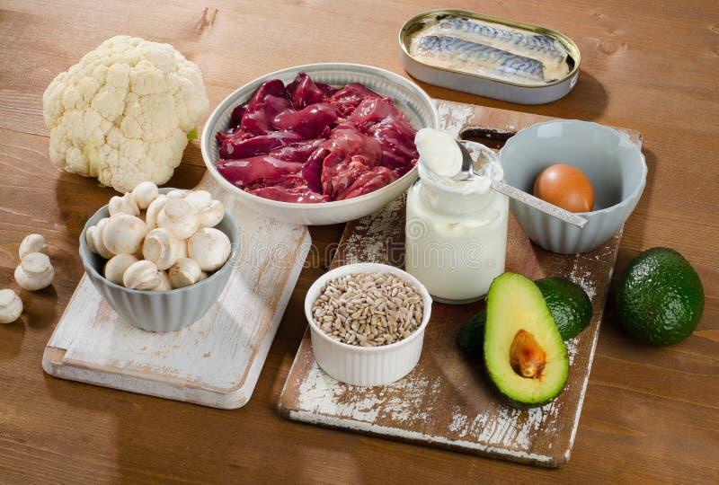 Nourritures le plus haut en vitamine B5 (acide pantothénique) sur un backg en bois image libre de droits
