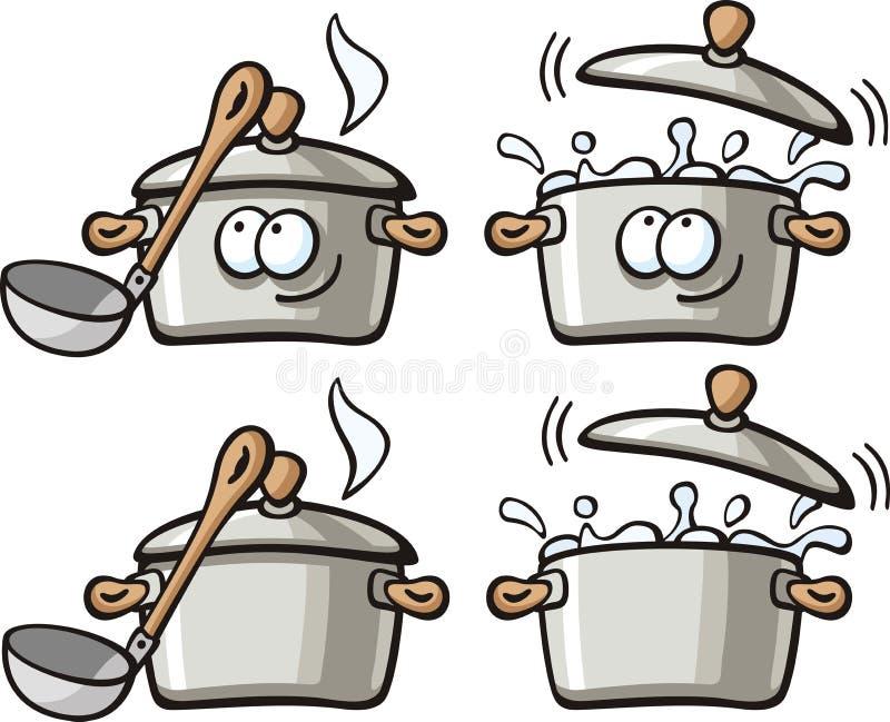 Nourritures mignonnes - carter de potage illustration libre de droits