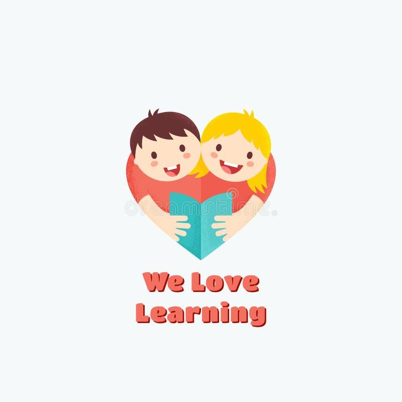 Nous aimons apprendre le signe, l'emblème ou le Logo Template abstrait de vecteur Illustration de livre de lecture de garçon et d illustration stock