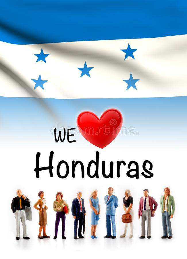 Nous aimons le Honduras, groupe de personnes d'A posons à côté du drapeau hondurien illustration de vecteur