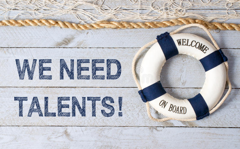 Nous avons besoin de talents - accueil à bord image stock