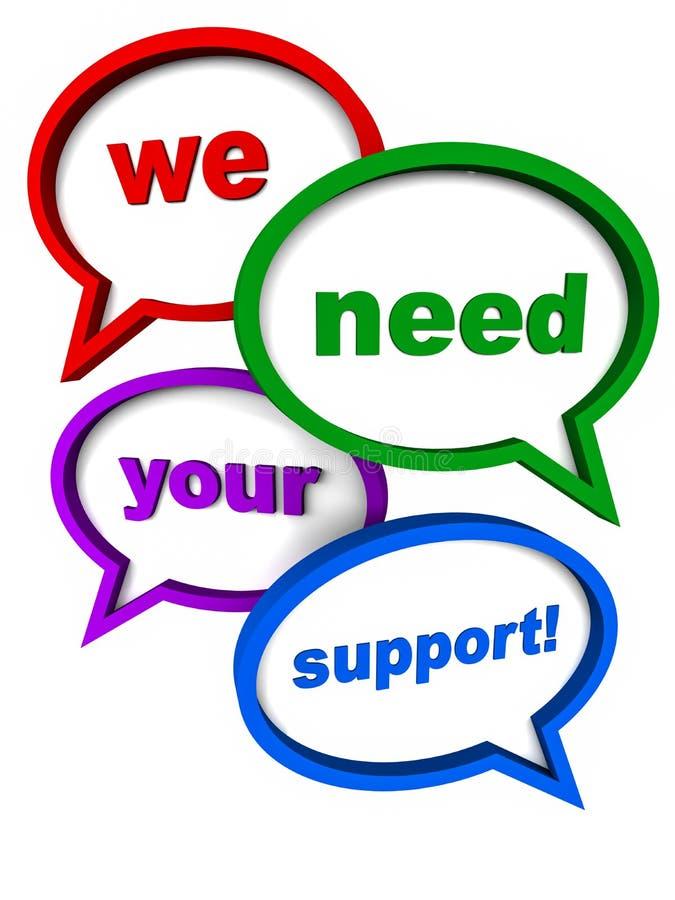 Nous avons besoin de votre support illustration de vecteur