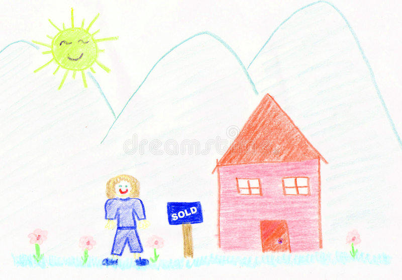 Nous avons vendu notre maison illustration stock