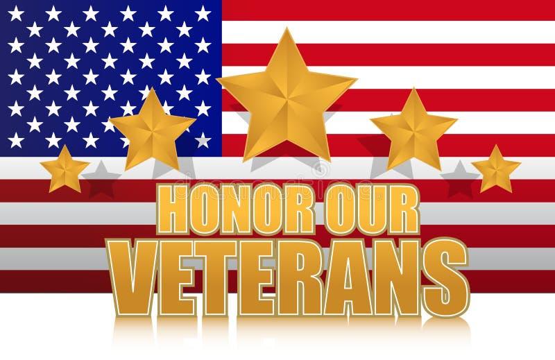 Nous honneur notre signe d'illustration d'or de vétérans illustration de vecteur