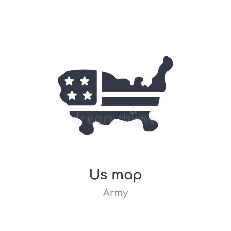 nous icône de carte nous a isolés pour tracer l'illustration de vecteur d'icône de la collection d'armée editable chantez le symb illustration stock