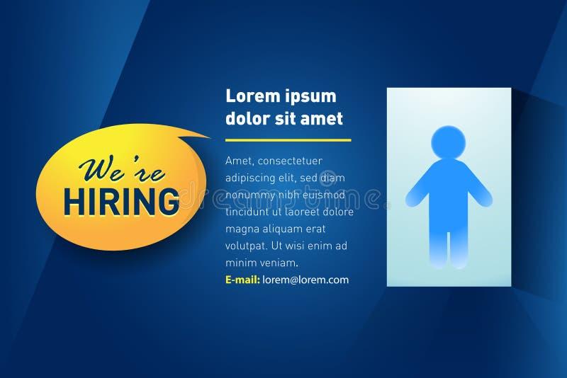 Nous louons/conception de l'avant-projet d'offre d'emploi recrutements d'emploi Illustration d'isolement de vecteur illustration stock