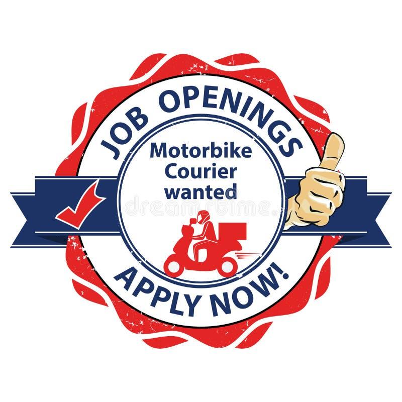 Nous louons le messager de motocyclette - créations de nouveaux emplois illustration de vecteur