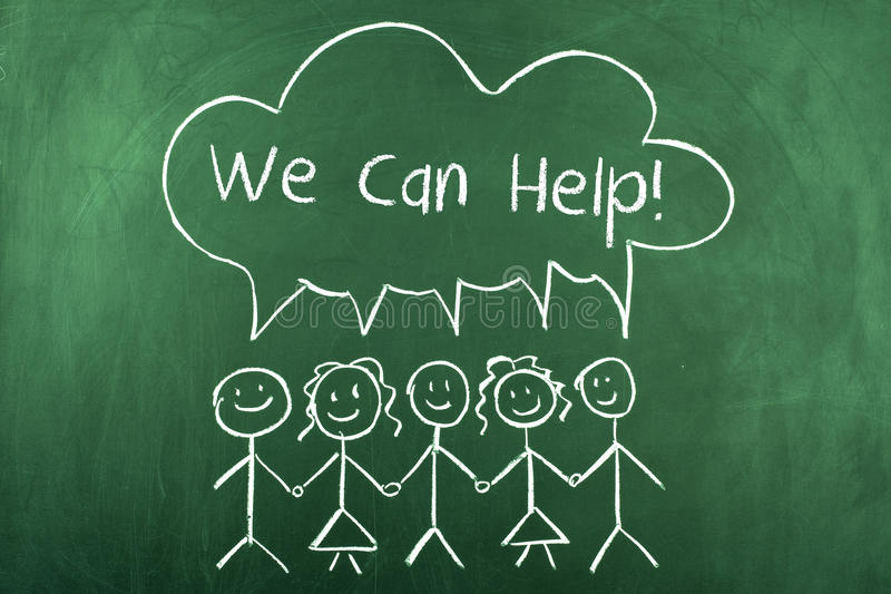 Nous pouvons aider le concept de soutien de service client illustration stock