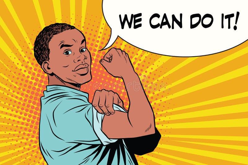Nous pouvons le faire Afro-américain d'homme de couleur de protestataire illustration de vecteur