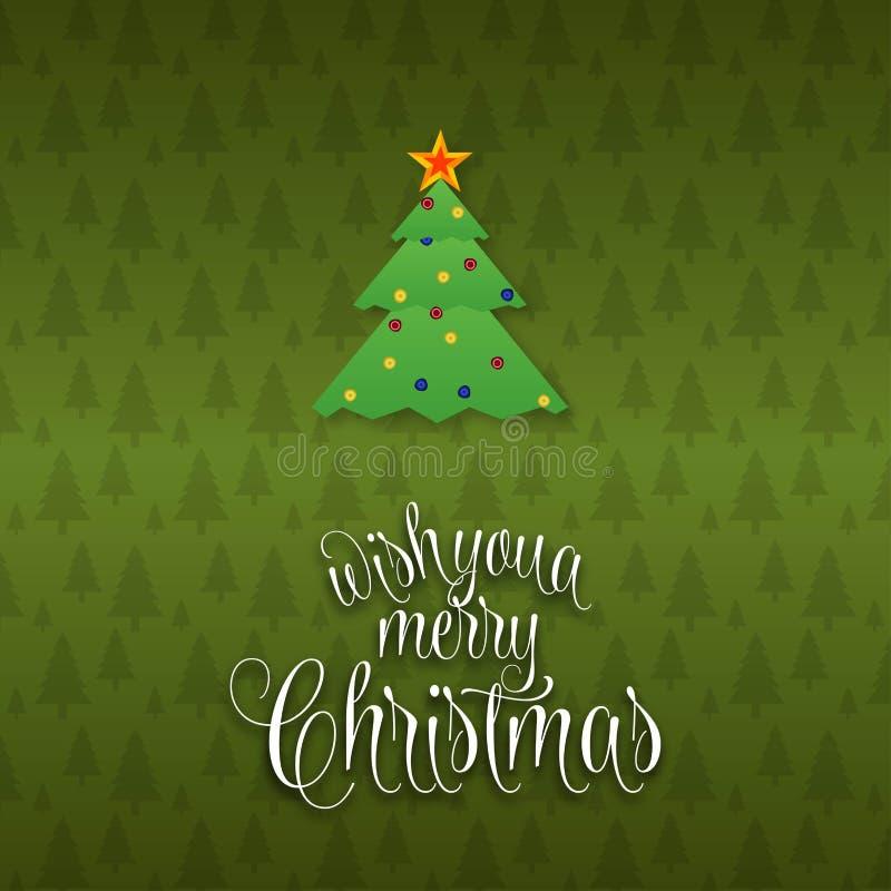 Nous te souhaitons un fond d'arbre de Joyeux Noël illustration libre de droits