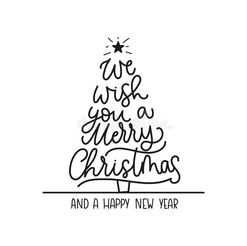 Nous te souhaitons un Joyeux Noël et une carte de voeux de bonne année avec le lettrage et l'arbre de Noël Noël à la mode et nouv illustration stock