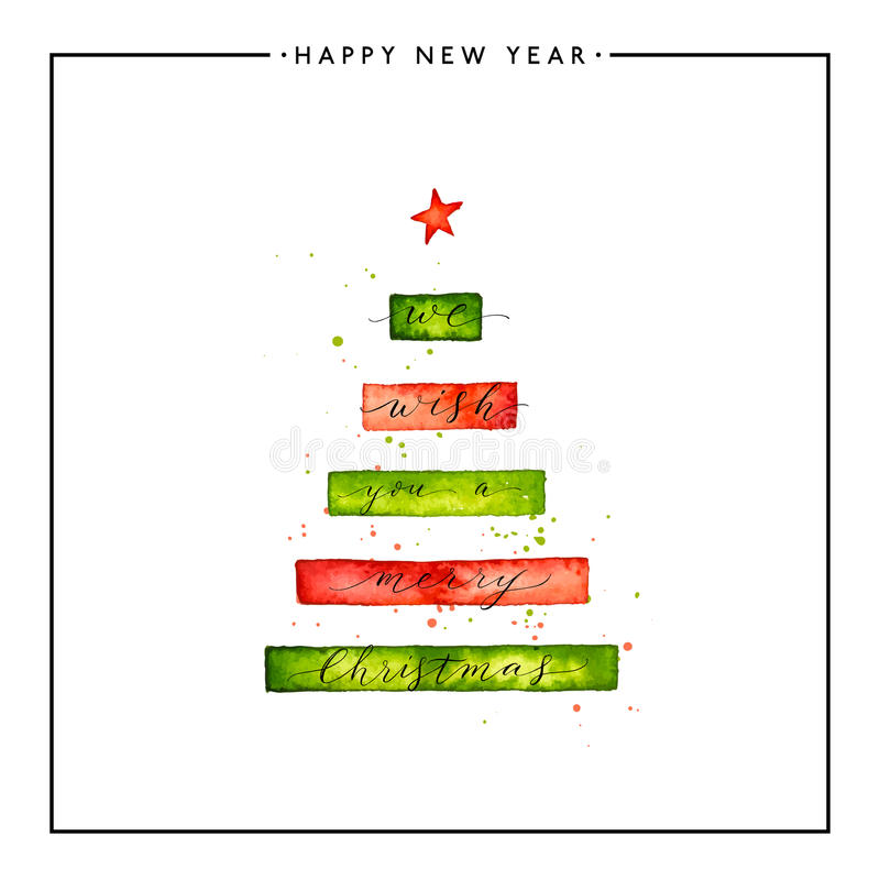Nous te souhaitons un texte de Joyeux Noël sur l'arbre de Noël d'aquarelle illustration libre de droits