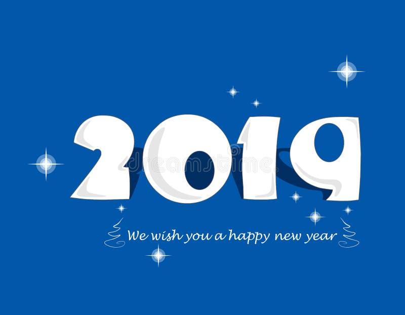 Nous te souhaitons une bonne année 2019 illustration de vecteur