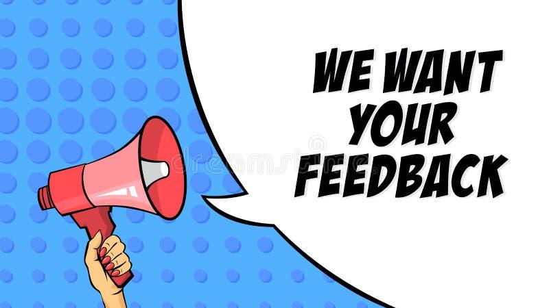 Nous voulons votre message de l'alimentation ACK Examen et estimation illustration libre de droits