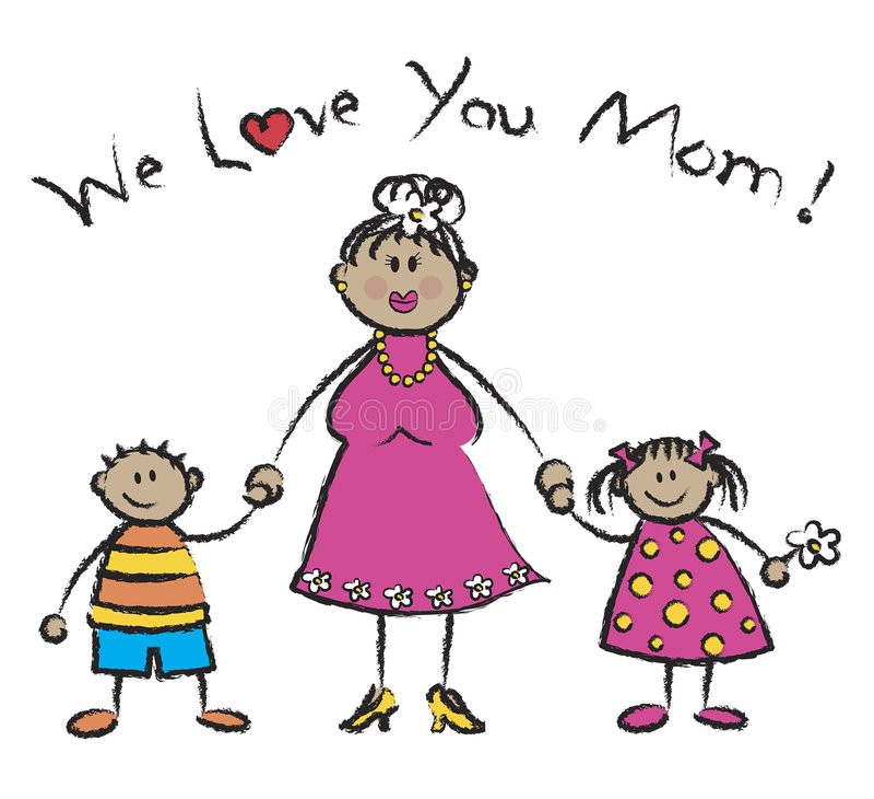 Nous vous aimons maman - bronzez la peau illustration stock