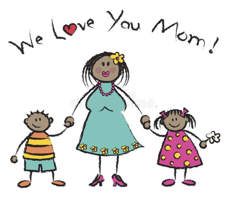 Nous vous aimons maman - peau foncée illustration de vecteur